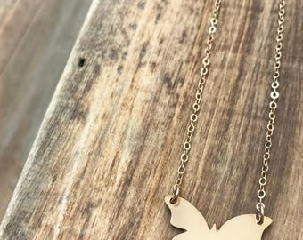 Butterfly Bar Necklace - Gold butterfly necklace, butterfly charm necklace, 14k gold filled butterfly, boho jewelry, summer styles, nature