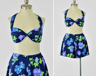 Vintage 60s Style Two Piece Floral Swimsuit • Floral Bikini Swimsuit • Halter Swimsuit with Shorts • Navy Blue Floral Print Bathing Suit M/L