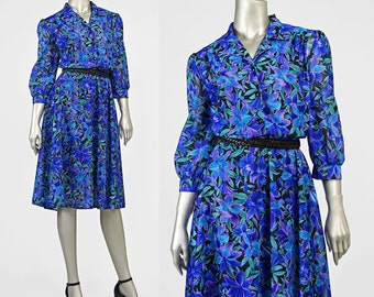 1970s Dress | Blue Floral Dress | 70s Dress | Tropical Print Chiffon Dress | Puff Sleeve Dress | Knee Length Secretary Dress M/L/12