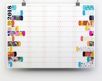 2018 Wall Planner, Large Calendar, A2 planner, Office Calendar, Business Planner, 2018 Calendar