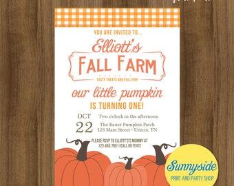 Fall Farm pumpkin patch birthday invitation, boy or girls birthday party invite, little pumpkin's birthday printable or printed invitation
