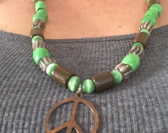 Green peace hippie wooden/glass/plastic/brass necklace