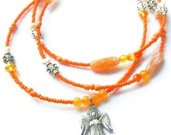 Angel Waist Beads, Carnelian Waist Beads, African Waist Beads, Spiritual Waist Beads, Guardian Angel Waist Beads, Ancestor Belly Chain