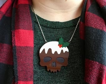 Laser Cut Acrylic Christmas Pudding Skull Alternative Christmas Statement Necklace