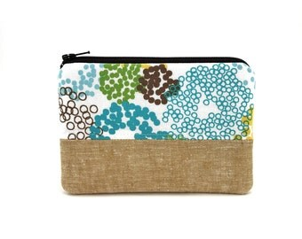 Zipper Pouch - Coin Purse - Patchwork Pouch - Purse with Pocket - Blue Dots Bag - Small Wallet - Padded Pouch - Gift ideas