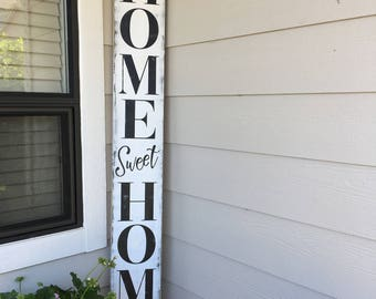 Home Sweet Home Sign - Farmhouse Style Wood Sign - Porch Sign in Custom Colors - 51.5X7.25