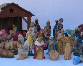 Vintage creche figurines, assemblage supplies, nativity, Christmas, from Diz Has Neat Stuff