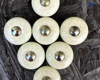 Vintage Speckled Cream Porcelain Drawer Knobs Lots Of 7, 5 SETS AVAILABLE Cabinet Knobs, Dresser Knobs, Pulls, Shabby Chic Knobs