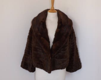 Vintage 1950s real mink fur and squirrel fur bolero shrug jacket short coat chestnut brown size Small to Medium UK 10 12 14