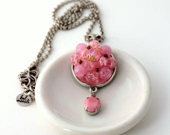 Pink Necklace, Recycled Jewelry, Bridal Necklace, Trendy Necklace, Upcycled Jewelry, Recycled Necklace, Rose Necklace, Bling Jewelry