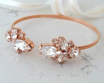 Bridal Bracelet,Rose gold Crystal Bracelet,Bridal Crystal Cuff,Bridesmaids Jewelry,Cuff Bracelet,Open cuff Bracelet,Adjustable Bracelet