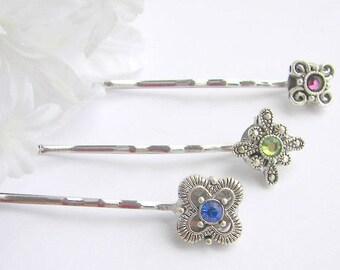 Fancy Hair Pin,  Rhinestone Bobby Pin, Bridesmaid Hair Clip, Fancy Crystal Hair Grip, Blue  Green or Purple Bobby Pin,  Wedding Hair Pin