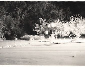 "Vintage Snapshot ""First Snow"" Abstract Shadow Light House At Night Trees Dramatic Black & White Found Vernacular Photo"