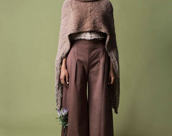 Loose Maxi pants, Asymmetrical Cotton wide leg pant, Modern Woman Palazzo, Brown Casual pants, Elegant high waist trousers