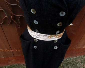 Vintage 1950's Black Wool Dress, 1940's/1950's Dress Fashion, Vintage Winter Dress, Mod Career, Retro