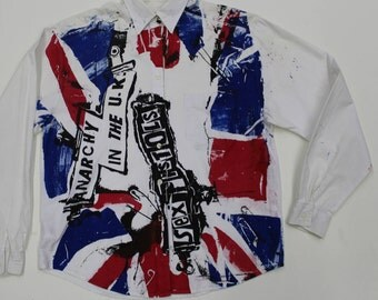 Punk Shirt -Button Up Shirt -Screenprinted Sex Pistols -Anarchy in the UK-London Flag-Collared Collar long sleeve -retro cotton small 36