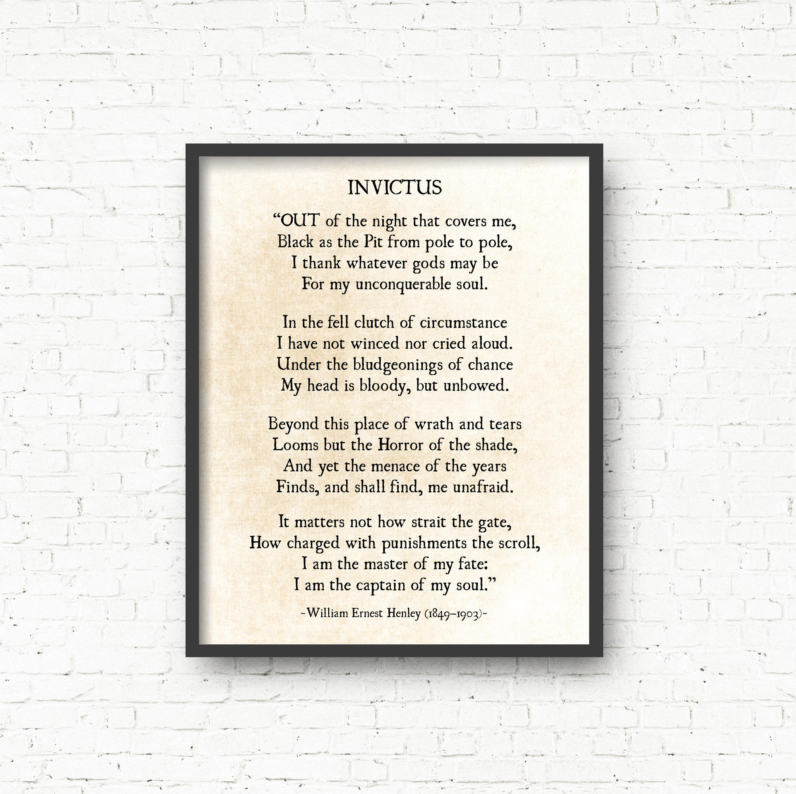 invictus by william ernest henley an Invictus annalistic essay invictus by william ernest henley is a powerful poem portraying the fate of human beings the author clearly is writing about his own struggles for his pain is obvious in the poem henley suffered.