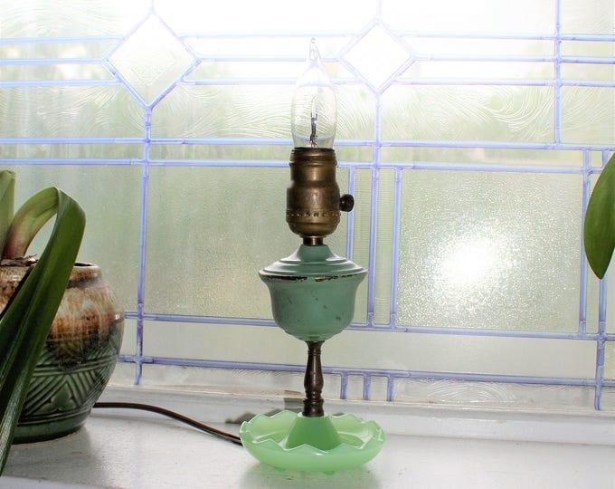 Vintage Jadite Boudoir Lamp Rustic Farmhouse Decor