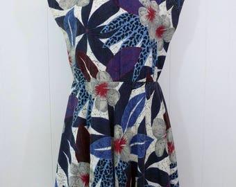 80's Batik Floral Dress Cotton Bold Blue Black Tropical Print Full Skirt Sundress L