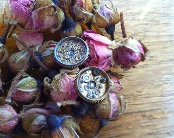 Gorgeous, intricate watch part earrings; mismatch earrings.