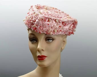 1940's Pink Tilt Hat Silk Ribbon and Yarn with Beadwork WW2 Era Women's Fashions