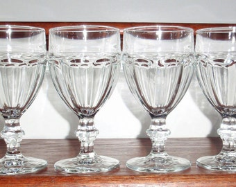 4 LIBBEY ROCK SHARPE Gibraltar 10 Oz Clear Paneled Water Wine Glasses Goblets Wafer Stems 6 3/4 High Heavy Duratuff Excellent Condition