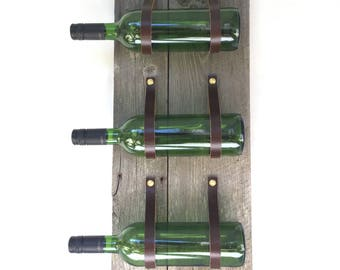 Three Bottle Wine Rack MWR75 with reclaimed wood and recycled leather wall mount bottle holder