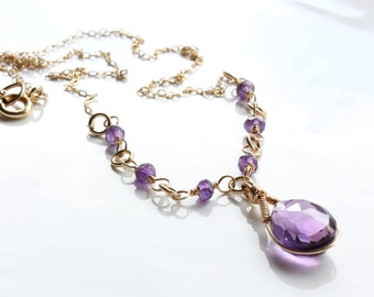 Amethyst Necklace, Goldfilled Wire Wrap, fine purple gemstone necklace, feminine, elegant, bohemian, Februaty birthstone, gift for her, 2866
