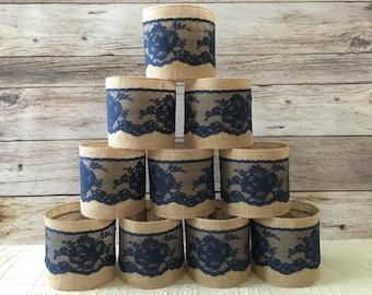 10 navy jar sleeves, ball quart size jar sleeves, navy lace and natural color burlap, wedding, bridal shower, baby shower decor