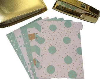 Planner Dividers // A5 or Personal Planner Dividers // A5 Planner Dividers // Personal Planner Dividers // Tan Blue Cream Dividers