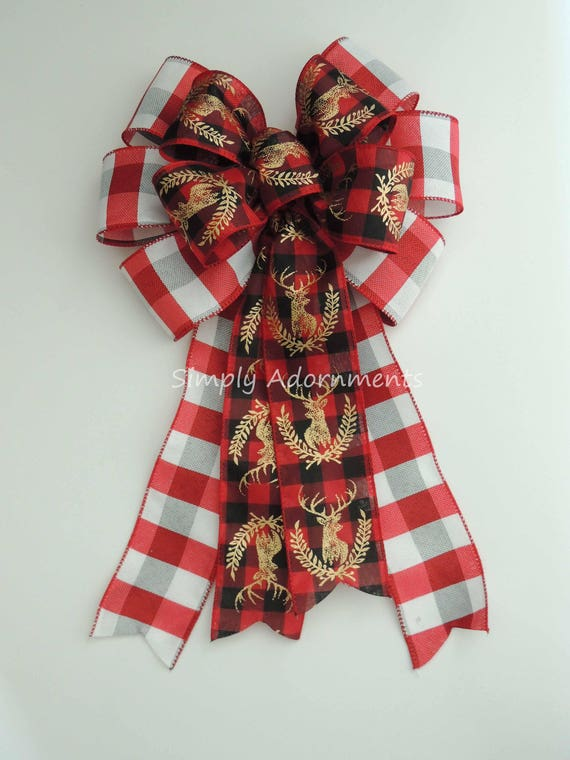 Cabin Red Black Buffalo plaid Bow Holidays Red Black Deer Head Bow Buffalo Check Bow Cabin deer Head Country Plaid Bow Holiday Deer head Bow