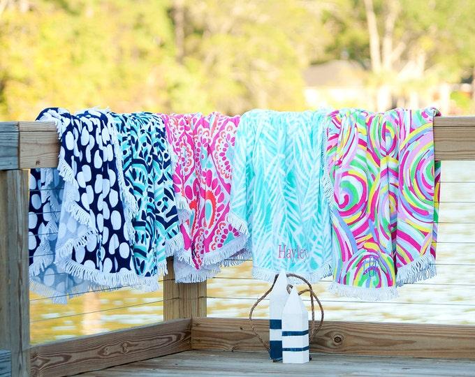 Monogrammed Round Beach Towel, Sand Circle Beach Towel, Monogram Beach Towels, Oversized Beach Towels, Monogrammed Beach Towels