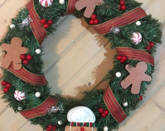 Gingerbread Cookie Evergreen Christmas Wreath