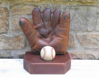 Leather Hutch Baseball Glove Mitt Oil Treated Leather with Old Baseball on Reclaimed Wood Stand Sports Memorabilia Man Cave Cincinnati, Ohio