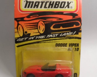 1993 Super Fast Matchbox Action System Dodge Viper RT/10 Red #10 Chrome Wheels Diecast Scale Model Toy Car