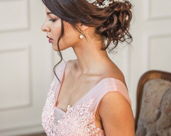 Bridal headpiece, Rose gold hair accesories, Bridal hair comb, Flower comb, wedding hair accessories, pearl headpiece, flower crown