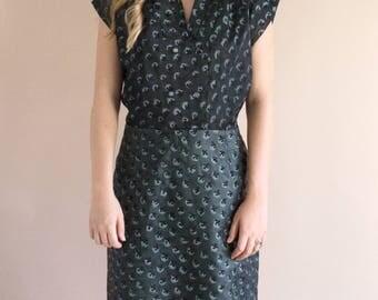 1950s Flock Dress - Vintage 50s Satin Dark Green Dress - Richmond Dress