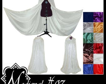 Ivory Crushed Velvet Cloak lined with a Shimmer Satin of your choice. Ideal for LARP Medieval Costume Wedding Handfasting. Made To Measure.