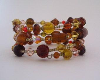 Earthtone Czech Glass Beaded Bracelet with Swarovski Accents