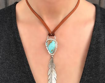 Sterling Silver Feather Necklace With Genuine Turquoise Gemstone, Handmade One Of A Kind Jewelry, Adjustable Leather Cord, Special Gift.