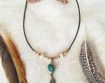 Bohemian Native brass nexklace with natural Turquoise gemstone. Tribal delicate jewerly handmade by Bella Marietta