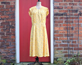 FINAL LAYAWAY PAYMENT 1930s crepe dress | 30s floral dress | Art Deco | smocked dress | day dress | yellow crepe