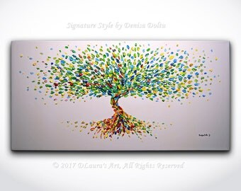 Contemporary Tree Painting ORIGINAL Abstract Rainbow Blossom Tree Textured Oil Painting Palette Knife Modern Art 40x20 Canvas by Denisa