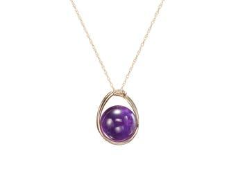 Birthstone Amethyst necklace pendant Diamond jewelry February birthstone necklace Crystal stone purple gemstone necklace Amethyst bead
