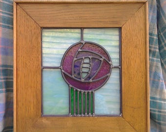 Charles Rennie Mackintosh style stained glass panel.