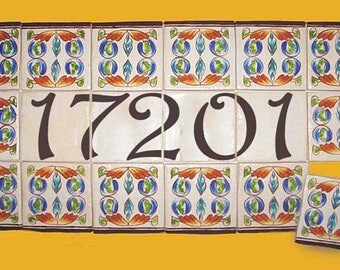 "Individual porcelain house number plaque hand painted on eighteen 4"" x 4"" tiles, Deco tiles, Small wall mural, Outdoor ceramic sign"