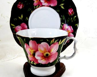 Vintage Tea Cup and Saucer, Pink Flowers and Green Foliage in 3 Patterns