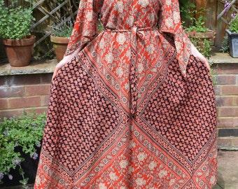 Indian cotton kaftan dress Gypsy Festival Folk boho hippy dress S m Uk 10 12 8 US  6 8 4 red Indian kaftan dress sultani style