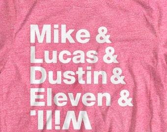 Stranger Things T shirt Mike Lucas Dustin Eleven Will T Shirt Unisex 100% Bella + Canvas T shirt