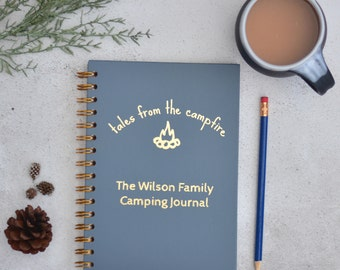 Personalised family camping journal, A5 wiro notebook, travel journal, memory book, family journal, camping gifts, hiking notebook